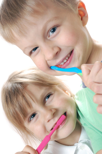 Children Brushing Baby Teeth
